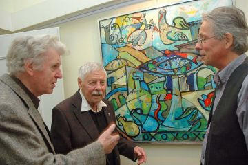 Alfred Diwersy (links) bei einer Vernissage in Dillingen 2013